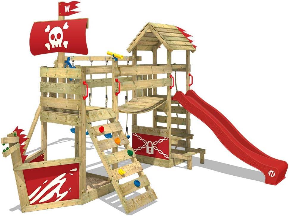 WICKEY Parque infantil de madera GhostFlyer con columpio y tobogán rojo, Casa de juegos de jardín con arenero y escalera para niños: Amazon.es: Bricolaje y herramientas