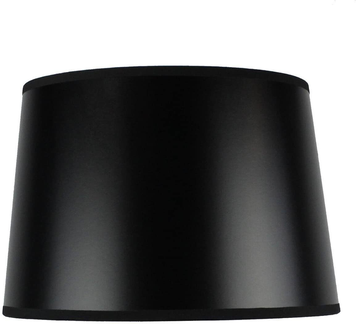 10x12x08 Hardback Shallow Drum Lampshade Black Parchment with Brass Spider Fitter – Perfect for Table and Desk Lamps – Medium, Black