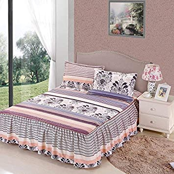 Zhiyuan Flower and Stripe Brushed Microfiber Bedspread with Ruffle Skirt Full