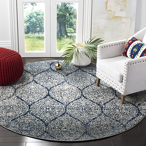 Safavieh Madison Collection MAD604G Navy and Silver Distressed Ogee Round Area Rug (5' Diameter)