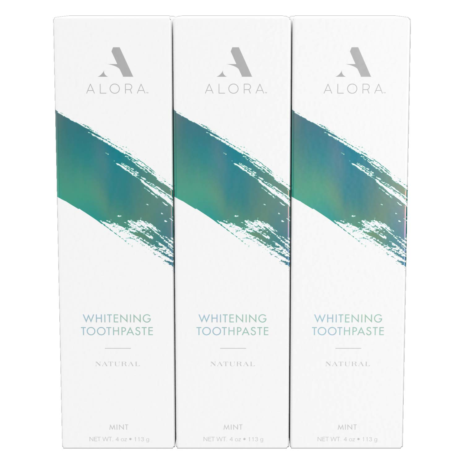 Alora Natural Whitening Toothpaste, Fresh Mint, 4 Oz (Pack of 3) - Fluoride Free