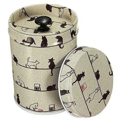 CHUANGLI Round Tea Tins Mini Metal Candy Trinket Tin Colorful Home Kitchen Storage Containers & Jars Cat Pattern (Trinket Tin)
