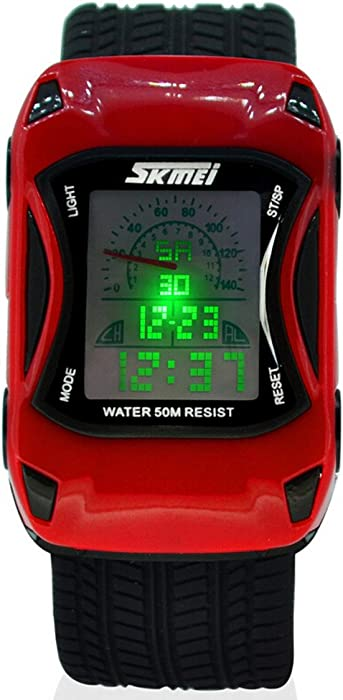 Kids LED Digital Kids Car Sports Waterproof Watches (Red)