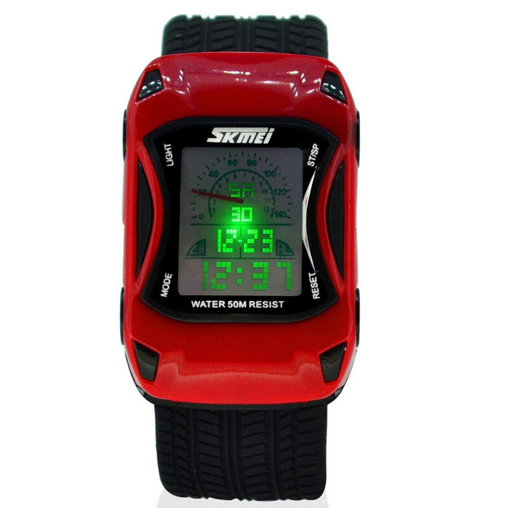 ALPS Kids LED Digital Kids Car Sports Waterproof Watches (Red)