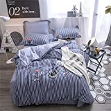 kele Cotton four-piece, Nordic Simple Cotton Bedding set, 1 quilt cover, 1 sheet, 2 pillow cases - 4 piece-E Queen2