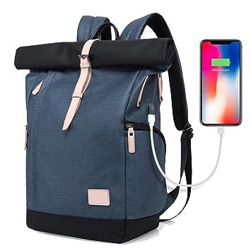 populärer Stil gute Qualität 2020 XIAOYAO Laptop Rucksack Damen Herren Tagesrucksack Schulrucksack  College-Rucksack Backpack Wasserdicht USB Rucksack 15,6 Zoll (Blau)