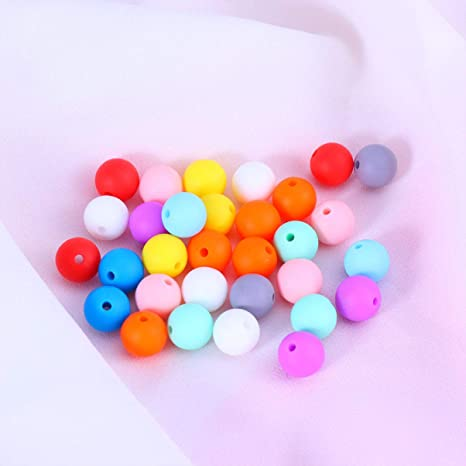 20Pcs Kids Baby no-BPA Silicone Teething Necklace Nursing Teether Round Beads