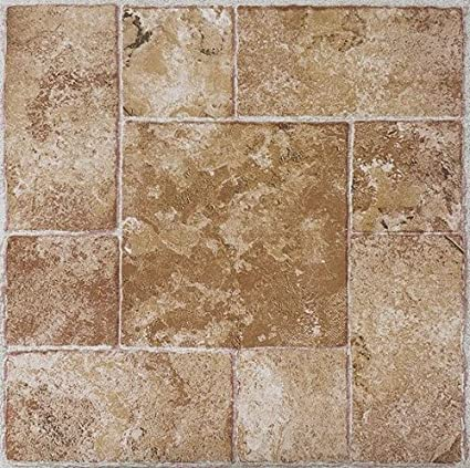 Squares White /& Gray Stone Vinyl Floor Tiles Self Stick Peek Flooring 12 x 12 1-Pack 20 Pieces