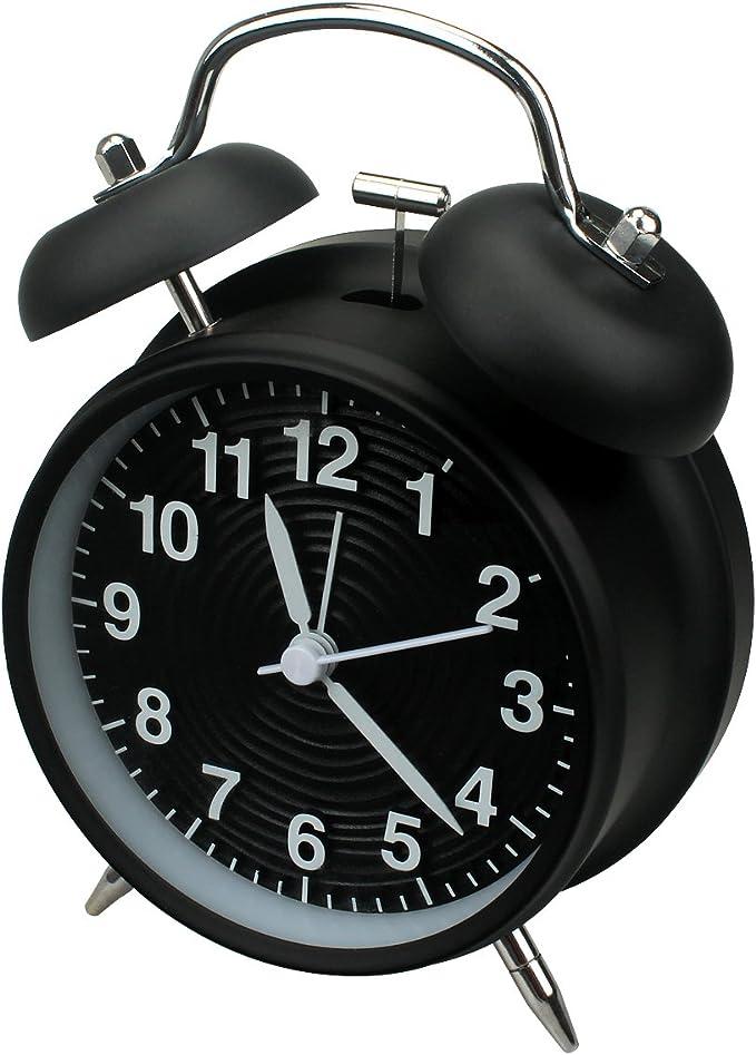 homchen Reloj Despertador de Campana Doble de 10,16 cm, sin