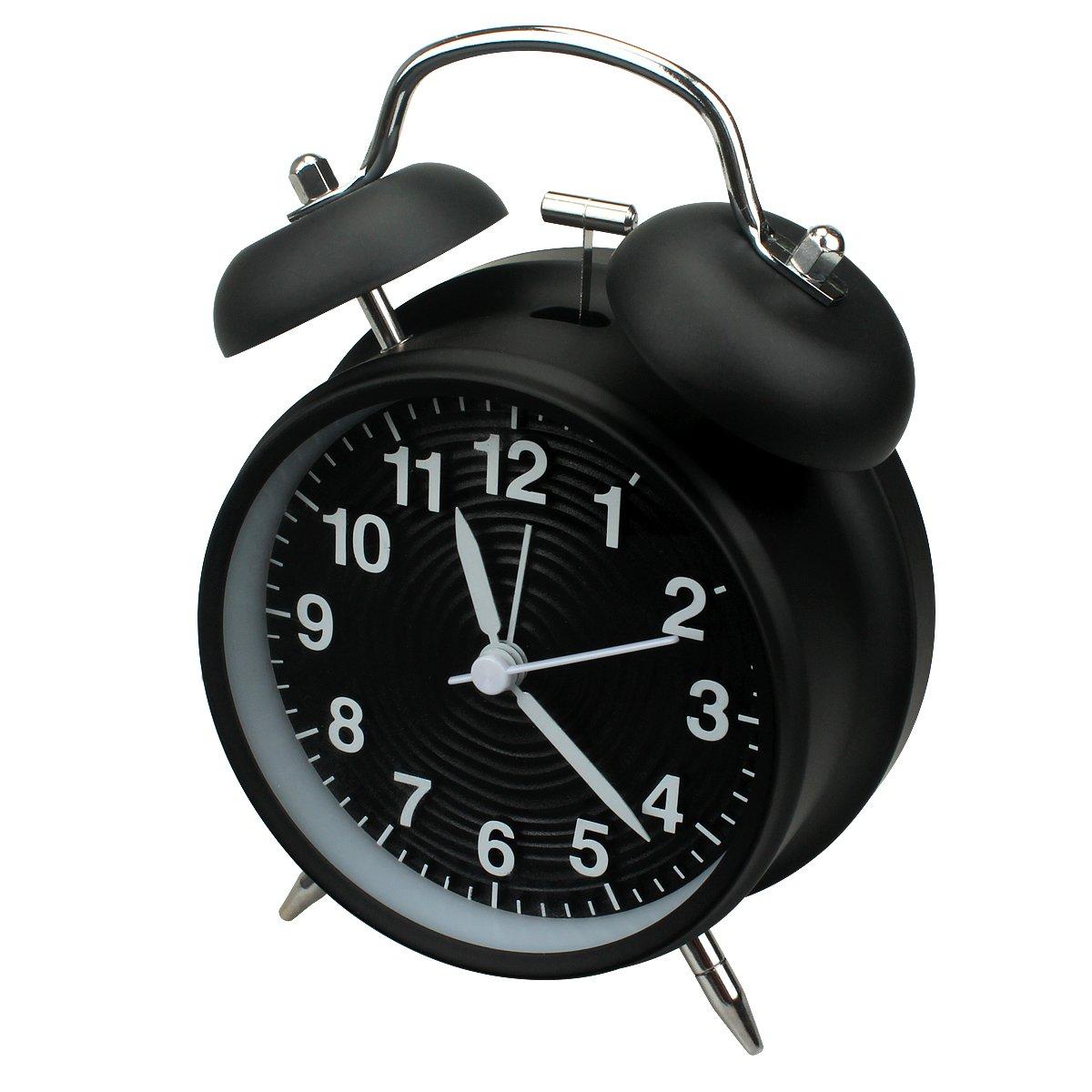 Sveglia da 10 cm a doppia campana, senza ticchettio, alimentata a batteria, stile rétro, con luce notturna per stanze da letto(Nero) Homchen
