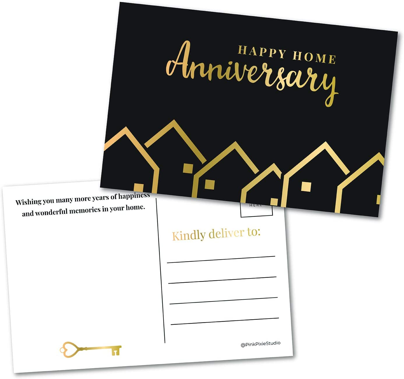 50 Happy Home Anniversary Realtor Postcards, Bulk Blank House Greetings, Real Estate Agent Thank You Notes, Houseiversary Card, Welcome Home Stationery Gifts for Clients (2 Tone Gold Print not Foil)