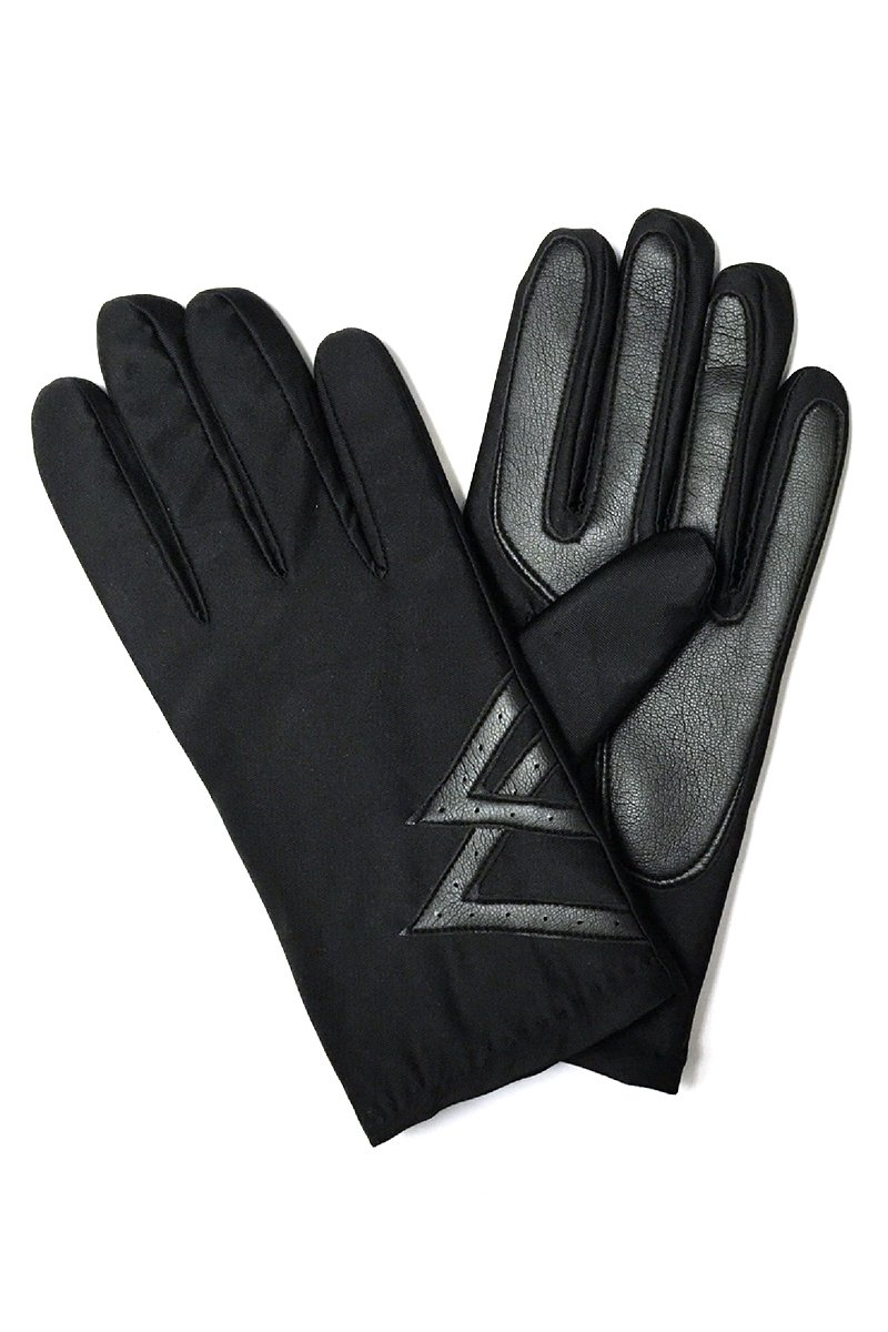 LL Mens Warm Spandex Driving Gloves with Fleece Lining, Faux Leather Palms (Black)