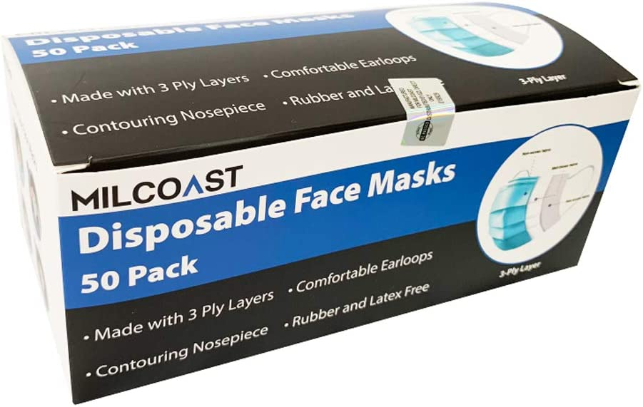 Milcoast 3-Ply Layer Disposable Earloop Face Masks - 50 Pack