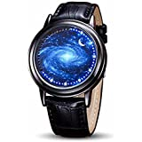 MINILUJIA LED Touch Screen Watch Unique Cool Watch Meteor Shower/Wish Tree Brain/Universe Milky Way/Simple Black Dial Watch with Soft Leather Strap Black Band