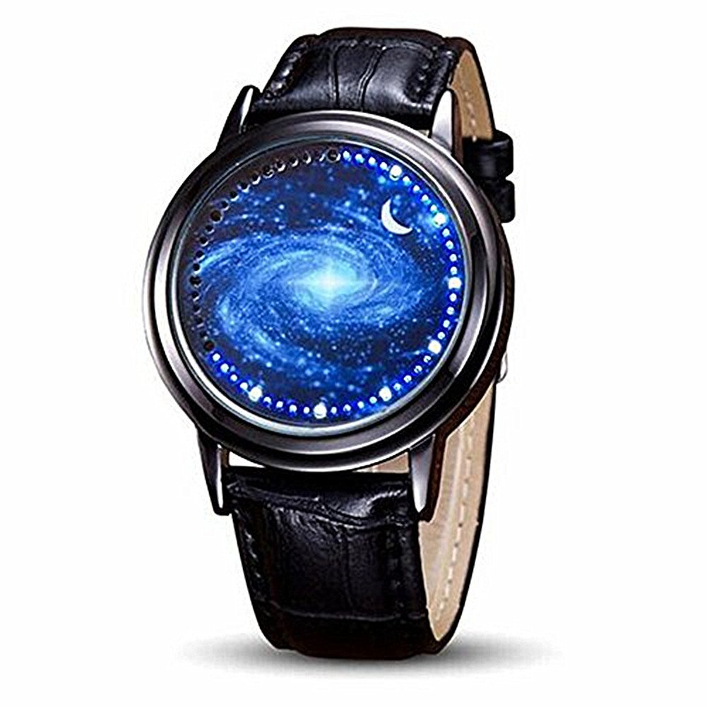 MINILUJIA Classic Creative Gift for Son Universe Milky Way Unique Cool Watch LED Touch Screen Watch with Soft Leather Strap Band Black (Starry Sky Blue)