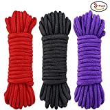 Sexy Slave [3 Pack] 32 Feet Soft Cotton Bondage Rope, Bondage Restraints Sex Rope for Couples(10M,Black,Red and Purple)