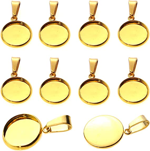 GBSTORE 20Pcs Stainless Steel Cabochon Settings Trays Connector,12mm Round Blank Pendant Trays Base for Necklace Earrings Bracelets Jewelry Making DIY Findings Gold