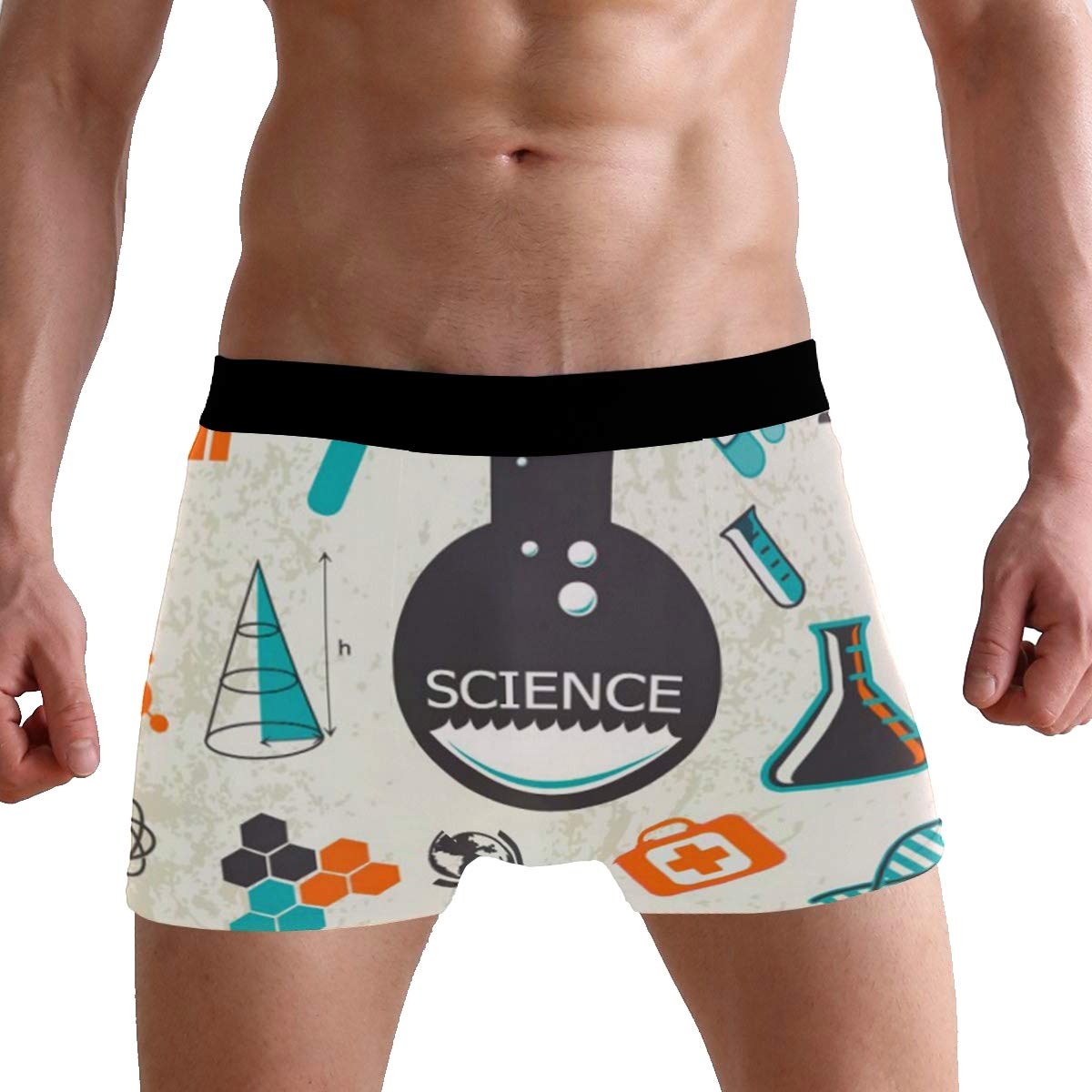 Mens Soft Breathable Science Elements with Test Tubes and Molecules Underwear Boxer Briefs