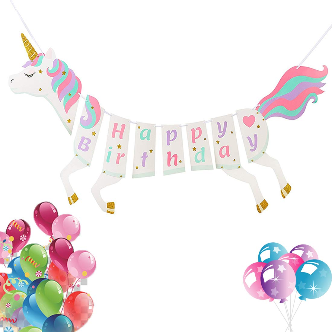 Vennke Unicorn Happy Birthday Banner Party Supplies Decorations With Sparkle Gold Glitter Magical Pastel