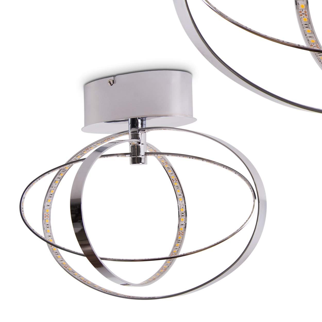 Deckenleuchte LED Ringos – extravaganter Strahler mit ringförmigen Lichtleisten – ovale Elemente drehbar - Zimmerlampe für Wohnzimmer – Schlafzimmer – Strahler aus Metall in Chrom – 3000 Kelvin