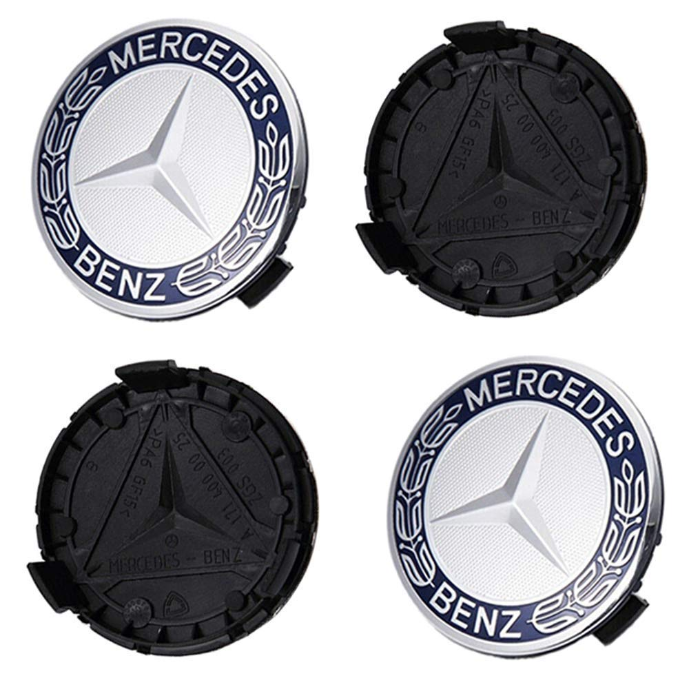 Wheel Center Cap Emblems Fit for Benz 75mm Light Blue Benz Rim Hub Cap Cover Logo Dark Blue Set of 4 Tire Valve Covers Fit for Applicable to Mercedes Benz All Models Kingshun Set of 4