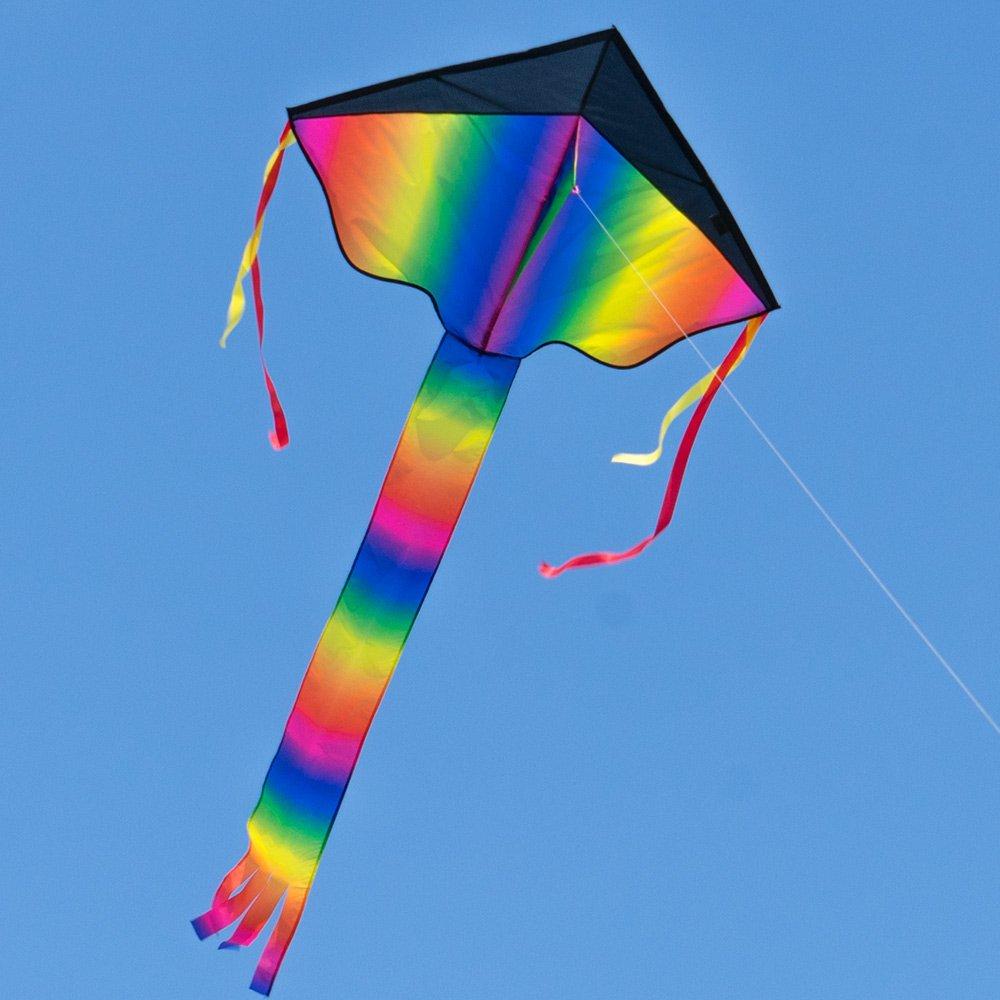 CIM Großer Kinderdrachen - SUPER DRACHEN Happy Eddy XL - Einleiner Flugdrachen für Kinder ab 6 Jahren - 102x108cm - inklusiv 80m Drachenschnur und Streifenschwänze Colours in Motion