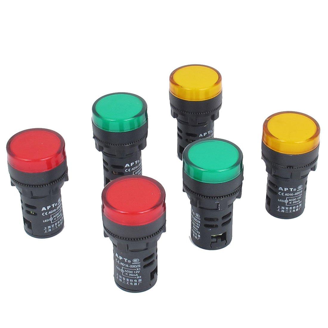 AC 12V 20MA LED Power Indicator Pilot Light Lamp 6Pcs Orange Green Red