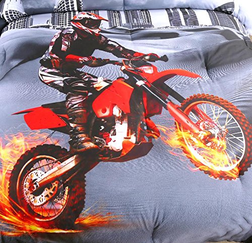 AMOR AMORE 3D Racing Motorcycle Motocross Bedding Dirt Bike Xtreme Sports Comforter Sets 3pc Microfiber Men Teen Boys Bedding Kids Twin Comforter Twin Size