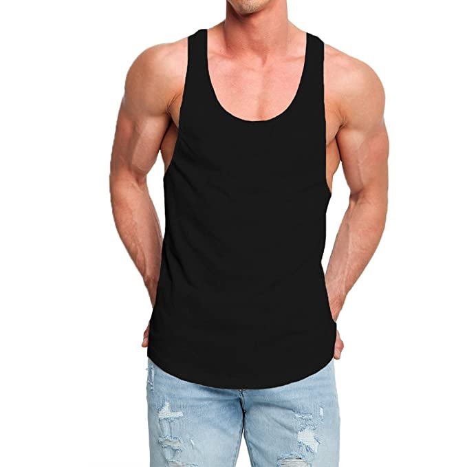 753808499d50d OA ONRUSH AESTHETICS Men s Fashion Longline Tank Tops Extreme Racer Back  Curved Hem Vest Black S