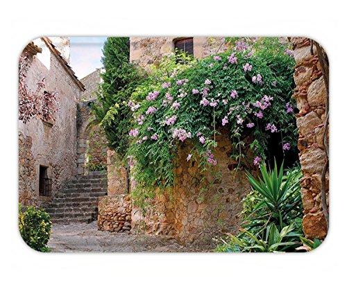 Minicoso Doormat Landscape Summer Garden Flowers Marigold Stones Antique Ancient House in Spain Art Print - Spain Tiffanys