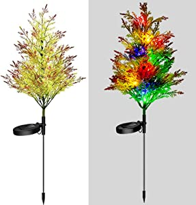 Solar Christmas Decorations Lights Set of 2, IP65 Waterproof Solar Christmas Tree Lights, LED Solar Christmas Pathway Lights Outdoor, Solar Garden Stake Lights for Yard, Patio, Courtyard, Lawn (2PCS)