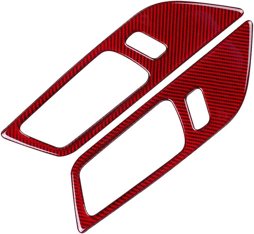ramuel Compatible with Carbon Fiber Interior Door Handle Regulator Panel Cover Trim Stickers for Ford Mustang 2015 2016 2017 2018 2019 2020 (2pcs Red)