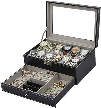 Estuche para Relojes Y Joyeros Organizador, Cuero De PU 12 Slots Exhibición Caja De Relojes, Negro: Amazon.es: Relojes