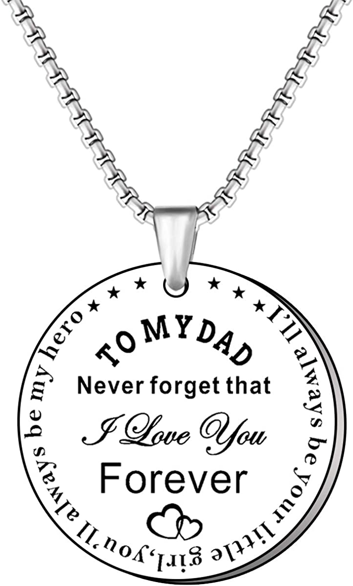 TTOVEN Dad Necklace,Dad Gifts From Daughter Son Fathers Day Christmas Birthday Lovely Jewelry presents Ill Always Be Your Little Girl,Youll Always Be My Hero