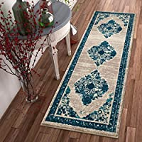 Well Woven Talya Abstract Vintage Distressed Medallion Blue Beige 2x7 (23 x 73 Runner) Area Rug