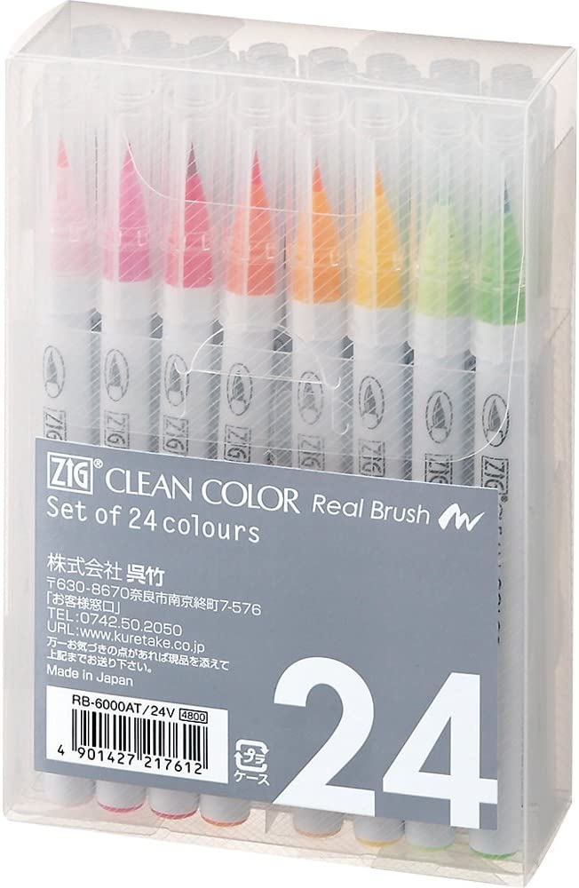 Kuretake ZIG Clean Color Real Brush Marker, 24 Colors with Flexible Brush Tips, Watercolor Pens for Painting, Drawing, Calligraphy and Brush Lettering for Artists and Beginner Painters, Made in Japan