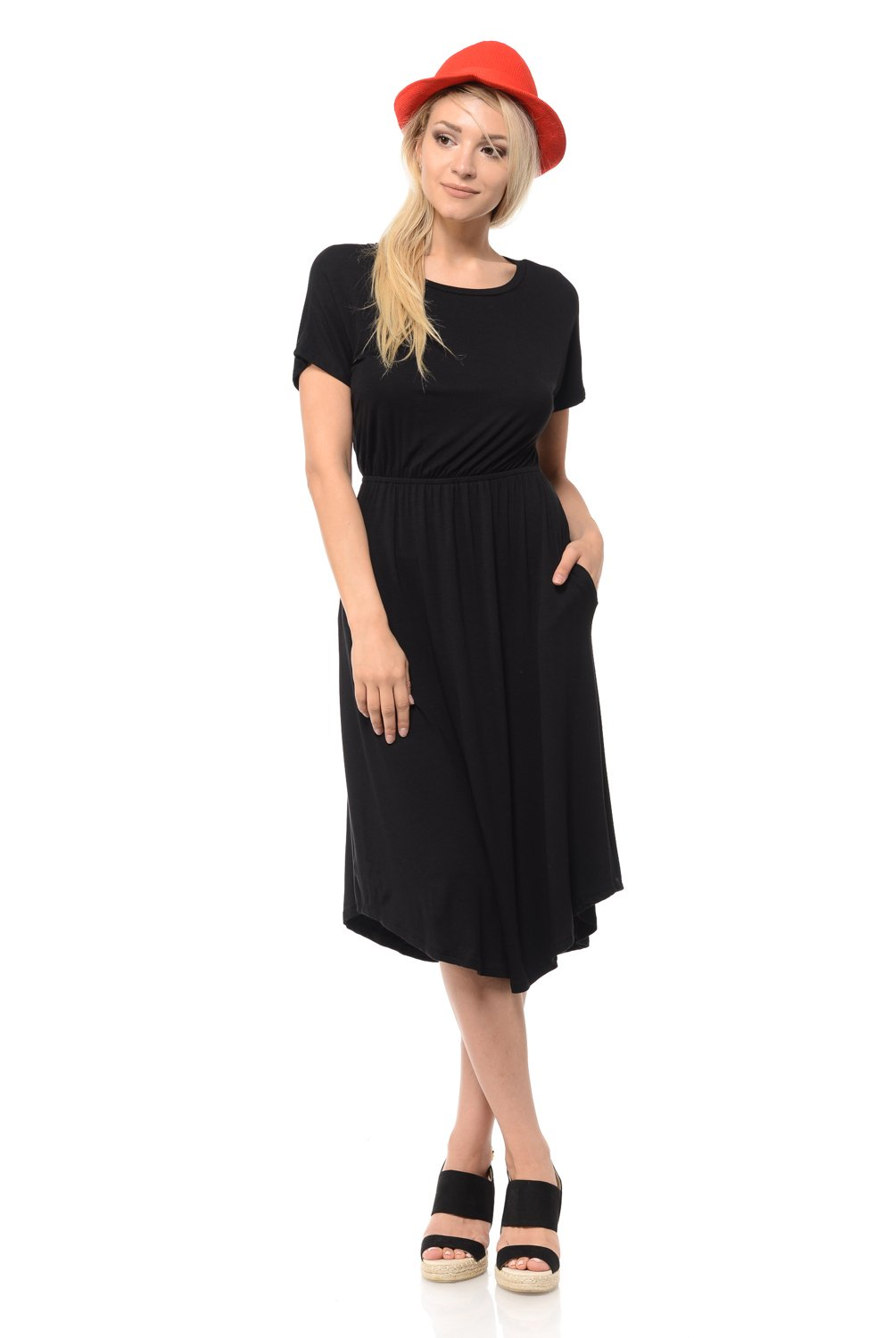 iconic luxe Women's Solid Short Sleeve Flare Midi Dress Pockets Large Black
