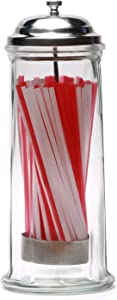 Circleware Retro Mia Old Fashioned Glass Beverage Drinking Holder Jar with Metal Lid and Red & White, Holds Pencils and Chopsticks, 10.8