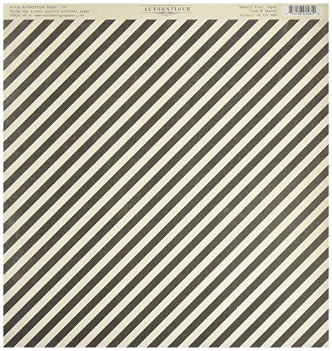 Authentique Paper Beauty Double-Sided Cardstock, 12 X 12-Inch, Ornamental Scrolls/Diagonal Stripe