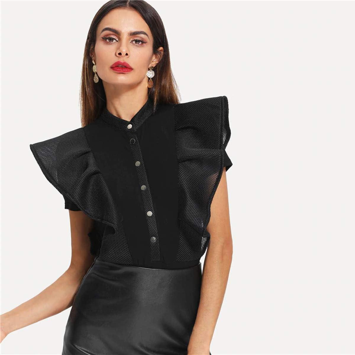 Black Elegant Button Up Mesh Short Sleeve Bodysuit Summer Women