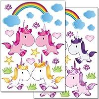 Adhesivos de pared Wandkings Juego de pegatinas Cute Unicorns - 38 adhesivos en 2 hojas de cartas de EE. UU.