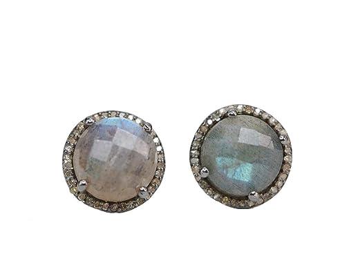 Labradorite Pave diamond Oxidized Sterling Silver Stud Earrings - 12.5 mm