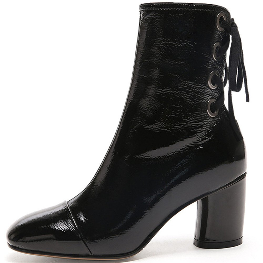 Nine Seven Patent Chunky Leather Women's Square Toe Chunky Patent Heel Lace up Mid Calf Handmade Dress Boots B07478CT3C 6 B(M) US|Black 19eb7c