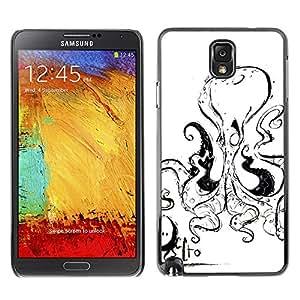Shell-Star Art & Design plastique dur Coque de protection rigide pour Cas Case pour SAMSUNG Galaxy Note 3 III / N9000 / N9005 ( Octopus Black White Sea Creature )