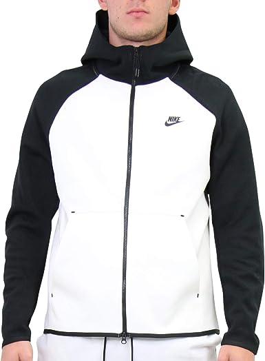 Nike Men S Sportswear Tech Fleece Full Zip Hoodie 928483 100 White Black X Large At Amazon Men S Clothing Store