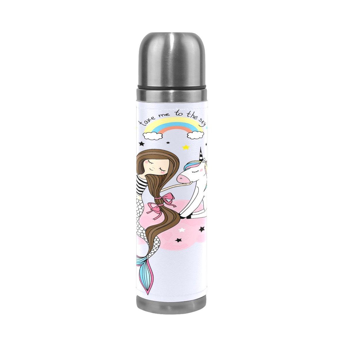 ALAZA Unicornio y Sirena niña Doble Pared de Acero Inoxidable Aislado al vacío Botella de Agua 17oz a Prueba de Fugas Termo para Caliente y Bebidas frías