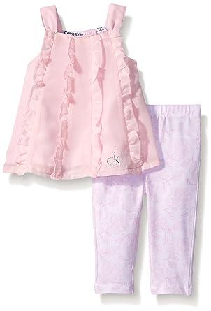 9ffd1ed3bd Amazon.com  Calvin Klein Baby-Girls Chiffon Pink and Printed Leggings