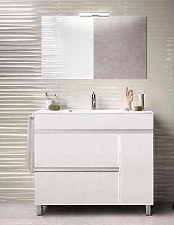 Ducha.es Conjunto 2 Piezas INDUS-Mueble de baño y encimera cerámica (100cm, Blanco Brillo): Amazon.es: Hogar