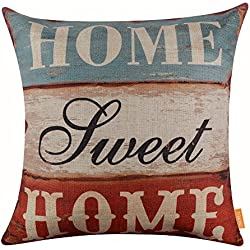 """LINKWELL 18""""x18"""" Vintage Wood Slat Home Sweet Home Words Burlap Throw Pillow Case Cushion Cover (CC1124)"""
