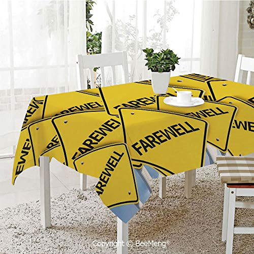 (BeeMeng Spring and Easter Dinner Tablecloth,Kitchen Table Decoration,Going Away Party Decorations,Multiple Road Signs with Text Farewell Journey Holiday,Yellow Black White,59 x 83 inches)